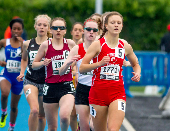 Effingham senior Shayna Phillips leads the field during the first lap of the 800-meter run at the Class 2A state track preliminary meet. Phillips finished fourth in her heat with a time of 2:19.67, qualifying for the finals.