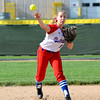 St. Anthony shortstop Katie Kabbes throws a runner out at Effingham High School.
