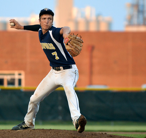 Teutopolis pitcher Brock Bueker struck out nine during a Class 2A Teutopolis Sectional semifinal against Trenton Wesclin, whom the Shoes defeated 6-1.