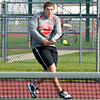 Effingham's Matt Linders hits a backhand during a home match against Mt. Vernon.