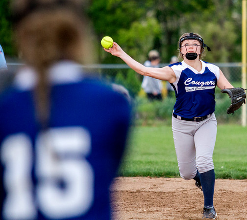 South Central shortstop Zoe Johnston makes the putout at first.