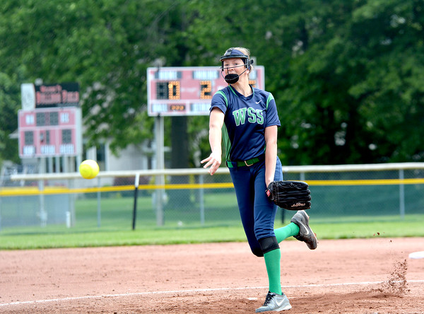Windsor/Stew-Stras' Megan Schlechte delivers a pitch during the second inning of the Class 1A St. Anthony Regional title game.