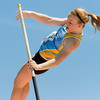 Cumberland sophomore Elise Hemmen clears the 09-06 mark during the pole vault competition at the Class 1A state track preliminary meet. She finished with a height of 09-06, which broke her previously set school record and personal best of 09-01.