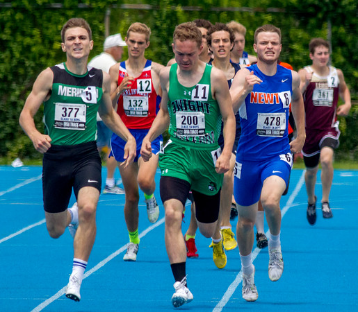 Newton's Joe Stone (second from the right) tries to stay with the front pack during the final stretch of the 800-meter run at the Class 1A state track preliminary meet. He finished third in the heat with a time of 1:58.94, qualifying for the finals.