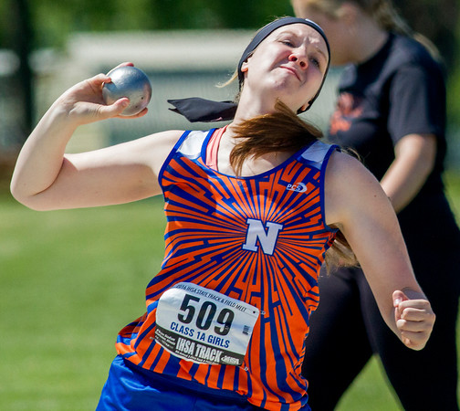 Newton's Grace Hartrich warms up prior to the start of the shot put competition Thursday at the Class 1A state track preliminary meet in Charleston. Hartrich's best throw was 33-06.