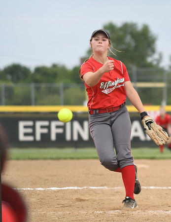 Effingham's Aly Armstrong watches a ball sail toward home in a 7-0 win over Taylorville in the Class 3A Effingham Regional semifinal. Armstrong struck out 16 over seven innings of work.<br /> Chet Piotrowski Jr./Piotrowski Studios