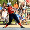 Altamont's Elizabeth Biggs follows through on an RBI double during a 9-8 win over St. Elmo/Brownstown in extra innings.
