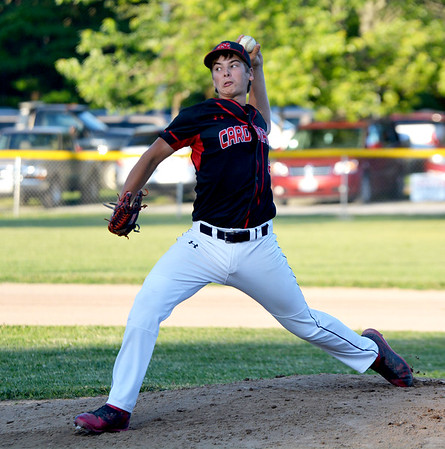 North Clay starting pitcher Jordan Bloemer delivers a pitch during a win against Oblong at the Class 1A North Clay Sectional. Bloemer struck out 16 batters in six innings in the win.