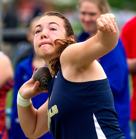 Teutopolis freshman Claire Bushur prepares to release the shot put during the Class 1A Newton Sectional. Bushur won both the shot put and discus events, earning her first-ever ticket to next week's state track meet in Charleston.