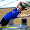 St. Anthony freshman Katherine Slaughter clears the bar during her pole vault at the Newton Sectional.