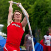 Effingham's Alec Morrissey bends back on his pole prior to his vault during the Class 2A State Track and Field Finals in Charleston. Morrissey took fourth after clearing 14-0 on his first attempt.
