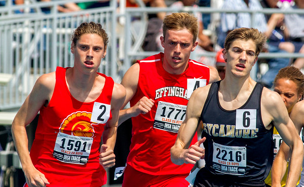 Effingham's Jacob Donaldson gets boxed in at the start of the 800-meter run at the IHSA Class 2A State Track Preliminaries at Eastern Illinois University in Charleston.