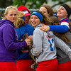 Members of the Cowden-Herrick/Beecher City softball team react after upsetting St. Anthony 7-5 at the National Trail Conference tournament. The Bobcats entered as the number seven seed while the Bulldogs were seeded number two.