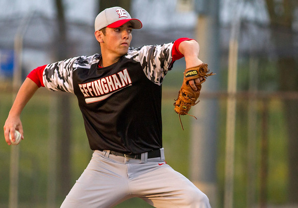 Effingham's Brent Beals delivers a pitch during game two of the City Series. Beals struck out 11 and gave up just four hits and no walks in the Hearts' 3-1 win over St. Anthony to clinch the series.