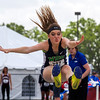 Windsor-Stew/Stras' Whitney Smith reaches before landing in the triple jump pit at the IHSA Class 1A State Track Meet Preliminaries in Charleston. Smith's jump of 35-feet, 2.25 inches qualified her for the finals.