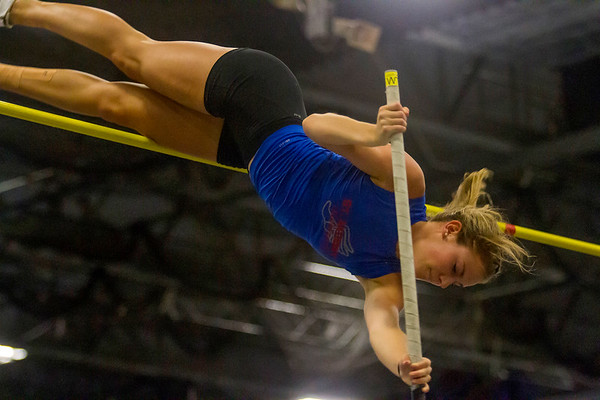 St. Anthony's Kristin Slaughter attempts to clear the bar during the pole vault finals at the Class 1A IHSA State Track Finals in Charleston. Slaughter not only repeated as the pole vault champion but went on to set a new personal best at 12-foot, 6-inches.