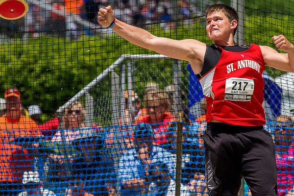 St. Anthony's Ty Kinkelaar releases the discus during the IHSA State Track and Field Finals at Eastern Illinois University in Charleston. Kinkelaar won the Class 1A State Championship after his throw of 164-06.