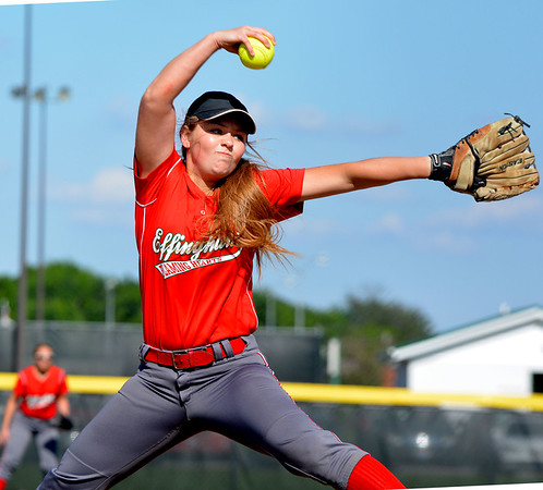 Effingham's Aly Armstrong goes through her windup during game three of the City Series at Effingham High School.