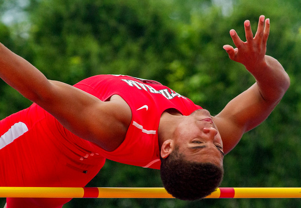 Effingham's Terrence Hill clears the bar at 06-01 during his third attempt at the high jump at the IHSA State Track and Field Finals in Charleston. Hill finished 11th. He also finished 8th in the 100-meter dash with a time of 11.27.