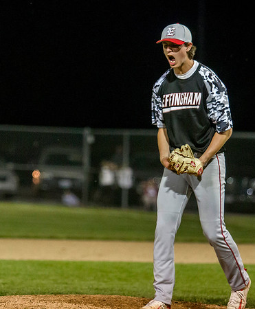 Effingham's Zach Lee reacts after getting the final out in the first game of the 36th Annual City Series. Lee came in relief of starter Lane Koenig, and together earned 15 strikeouts in their 4-3 win over St. Anthony.