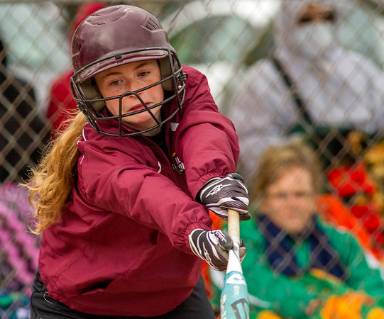Dieterich's Allyssa Boerngen misses on a bunt attempt during the National Trail Conference tournament. Windsor/Stew-Stras powered past the Lady Maroons, holding them to just one hit and winning 15-0 in four innings.