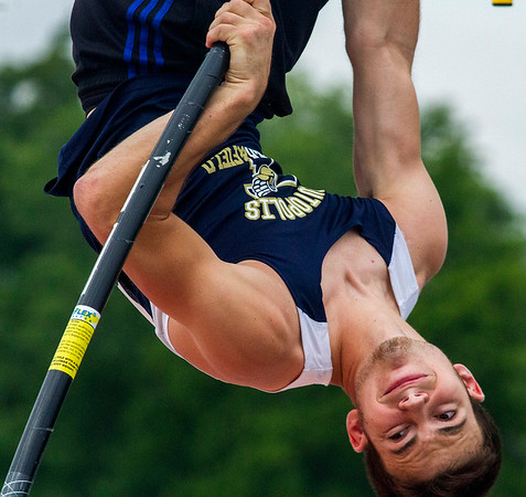 Teutopolis' Andrew McWhorter springs up during the pole vault at the IHSA State Track and Field Finals in Charleston. McWhorter finished fourth in Class 1A with a jump of 13-09.