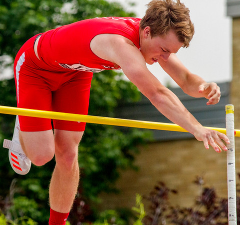 Effingham's Alec Morrissey clears the bar at 13-feet, 3-inches during the pole vault competition at the IHSA Class 2A State Track and Field Preliminaries in Charleston. The height qualified Morrissey for the finals.