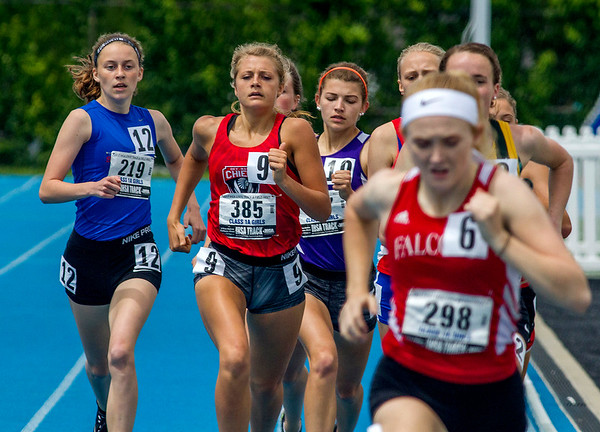 Sarah Carr, left, of St. Anthony tries to finish strong on the final stretch of the 800-meter run at the Class 1A IHSA State Track Finals in Charleston. Carr finished 10th with a time of 2-minutes, 24.07 seconds.