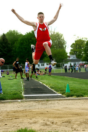 5-7-13<br /> MIC track and field<br /> Cass's Drew Shepherd jumping the long.<br /> KT photo | Tim Bath