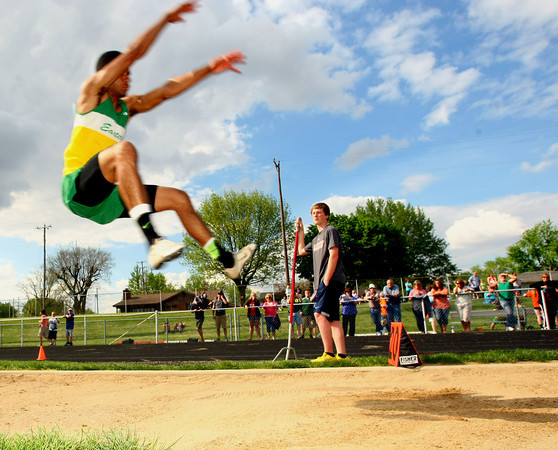 5-7-13<br /> MIC track and field<br /> Eastern's Josiah Marx jumping the long.<br /> KT photo | Tim Bath