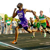 5-7-13<br /> MIC track and field<br /> Cameron Oden from Northwestern winning the 100m dash finals.<br /> KT photo | Tim Bath
