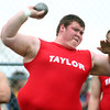 4-30-14<br /> Taylor track & field<br /> Tyler Delon in the shot put.<br /> Kelly Lafferty | Kokomo Tribune