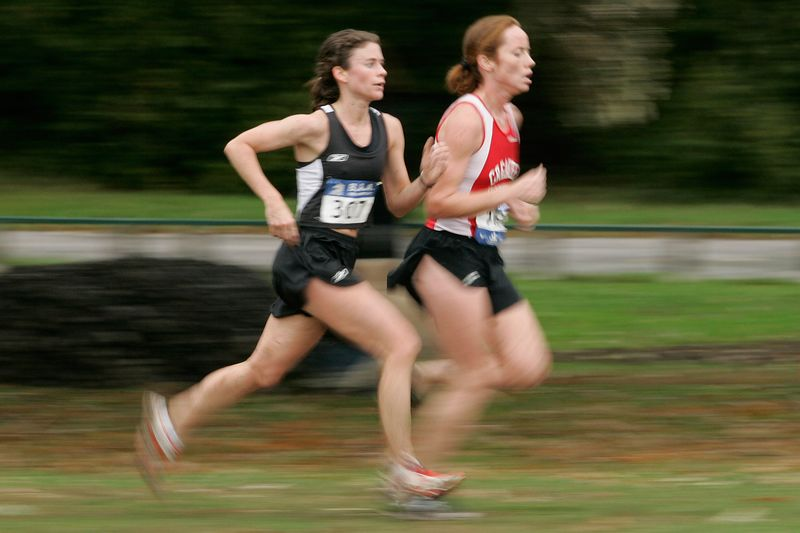 Laura Hayden sprints to the finish to lead the GBTC women to 5th place among 11 teams in the 16th Annual Mayor's Cup on October 23, 2005, at Franklin Park in Boston.