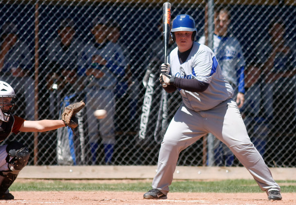 "Karson Kelly, #17, of Lyons, steps up to bat during the Mead-Lyons baseball game on Saturday, April, 28th, 2012, Lyons.<br /> Photo By Derek Broussard<br /> For more photos visit  <a href=""http://www.dailycamera.com"">http://www.dailycamera.com</a>"