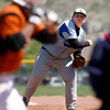 "Karson Kelly, #17, of Lyons, pitches during the third inning of the game on Saturday, April, 28th, 2012, Lyons.<br /> Photo By Derek Broussard<br /> For more photos visit  <a href=""http://www.dailycamera.com"">http://www.dailycamera.com</a>"