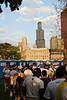 The inevitable loooong lines to the toilet before a marathon with the Sears Tower in the background.