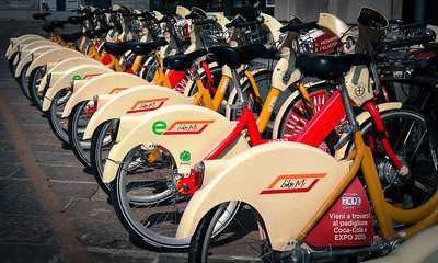 Bikes for rent for Milan locals - Milan, Italy Photo by Bonnie Ryan