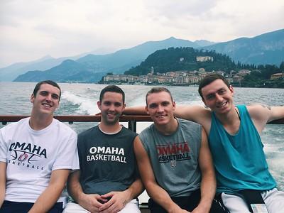 Ben Kositzke, John Ritzdorf, Kyler Erickson and Jake White during a private boat tour of Lake Como Photo by Megan McKenna
