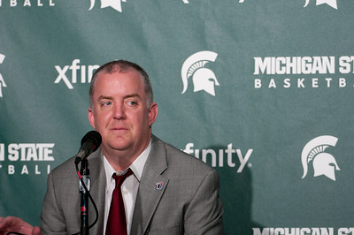 Dec 4, 2011; East Lansing, MI, USA; Nebraska-Omaha Mavericks head coach Derrin Hansen at the press conference after the game against the Michigan State Spartans at the Breslin Center. Mandatory Credit: Tim Fuller