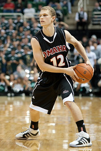 Dec 4, 2011; East Lansing, MI, USA; Nebraska-Omaha Mavericks guard Caleb Steffensmeier (12) during the first half against the Michigan State Spartans at the Breslin Center. Mandatory Credit: Tim Fuller