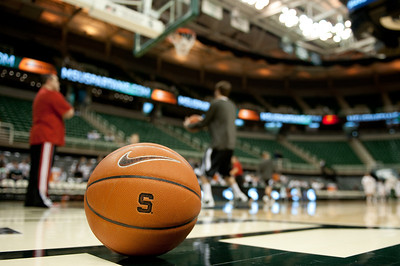 Dec 4, 2011; East Lansing, MI, USA; The Nebraska-Omaha Mavericks warm up before the game against the Michigan State Spartans at the Breslin Center. Mandatory Credit: Tim Fuller