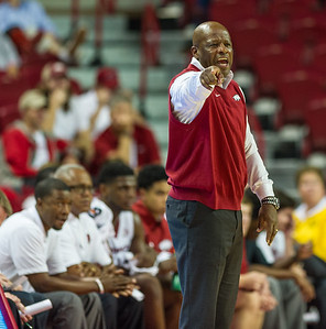 Head Coach Mike Anderson on the sideline during a basketball game between the Arkansas Razorbacks and the Southwestern Oklahoma State Bulldogs in Bud Walton Arena on November 5, 2015.   Arkansas won 103-58.   (Alan Jamison, Nate Allen Sports Service)