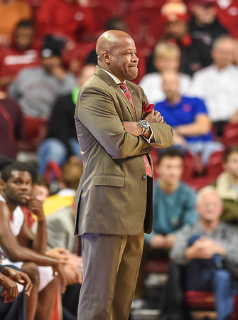 Arkansas head coach Mike Anderson during a basketball game between Arkansas and Northwestern State on December 1, 2015.    (Alan Jamison, Nate Allen Sports Service)