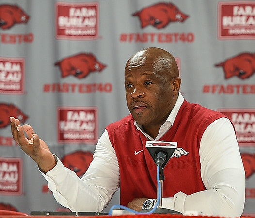 Head Coach Mike Anderson meets with the Media after a basketball game between the Arkansas Razorbacks and the Southwestern Oklahoma State Bulldogs in Bud Walton Arena on November 5, 2015.   Arkansas won 103-58.   (Alan Jamison, Nate Allen Sports Service)