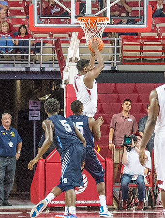 Arkansas Razorbacks forward Trey Thompson (1) had five rebounds during a basketball game between the Arkansas Razorbacks and the Southwestern Oklahoma State Bulldogs in Bud Walton Arena on November 5, 2015.   Arkansas won 103-58.   (Alan Jamison, Nate Allen Sports Service)