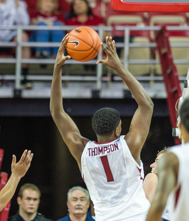 Arkansas Razorbacks forward Trey Thompson (1) with a rebound during a basketball game between the Arkansas Razorbacks and the Southwestern Oklahoma State Bulldogs in Bud Walton Arena on November 5, 2015.   Arkansas won 103-58.   (Alan Jamison, Nate Allen Sports Service)