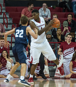 Arkansas Razorbacks forward Trey Thompson (1) looks to pass during a basketball game between the Arkansas Razorbacks and the Southwestern Oklahoma State Bulldogs in Bud Walton Arena on November 5, 2015.   Arkansas won 103-58.   (Alan Jamison, Nate Allen Sports Service)