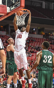 Willy Kouassi with a dunk during a basketball game between Arkansas and Delta State on November 10, 2015.    (Alan Jamison, Nate Allen Sports Service)