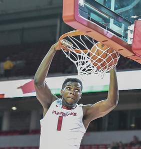 Trey Thompson (1) with a dunk during a basketball game between Arkansas and Delta State on November 10, 2015.    (Alan Jamison, Nate Allen Sports Service)
