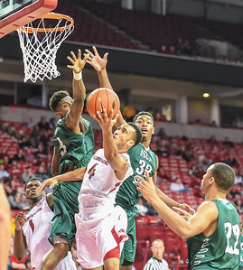 Jabril Durham with a layup during a basketball game between Arkansas and Delta State on November 10, 2015.    (Alan Jamison, Nate Allen Sports Service)